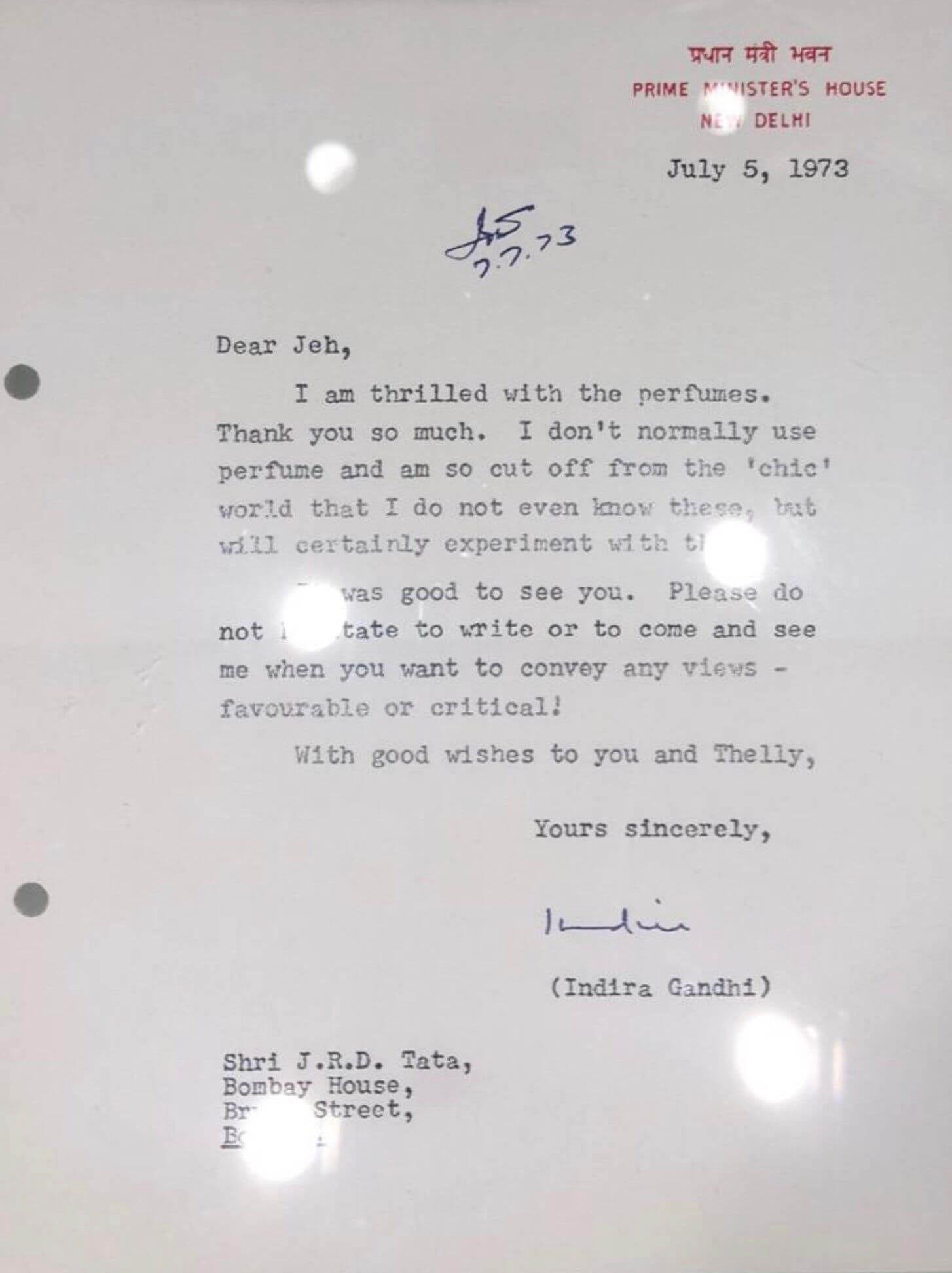 Indira Gandhi Letter