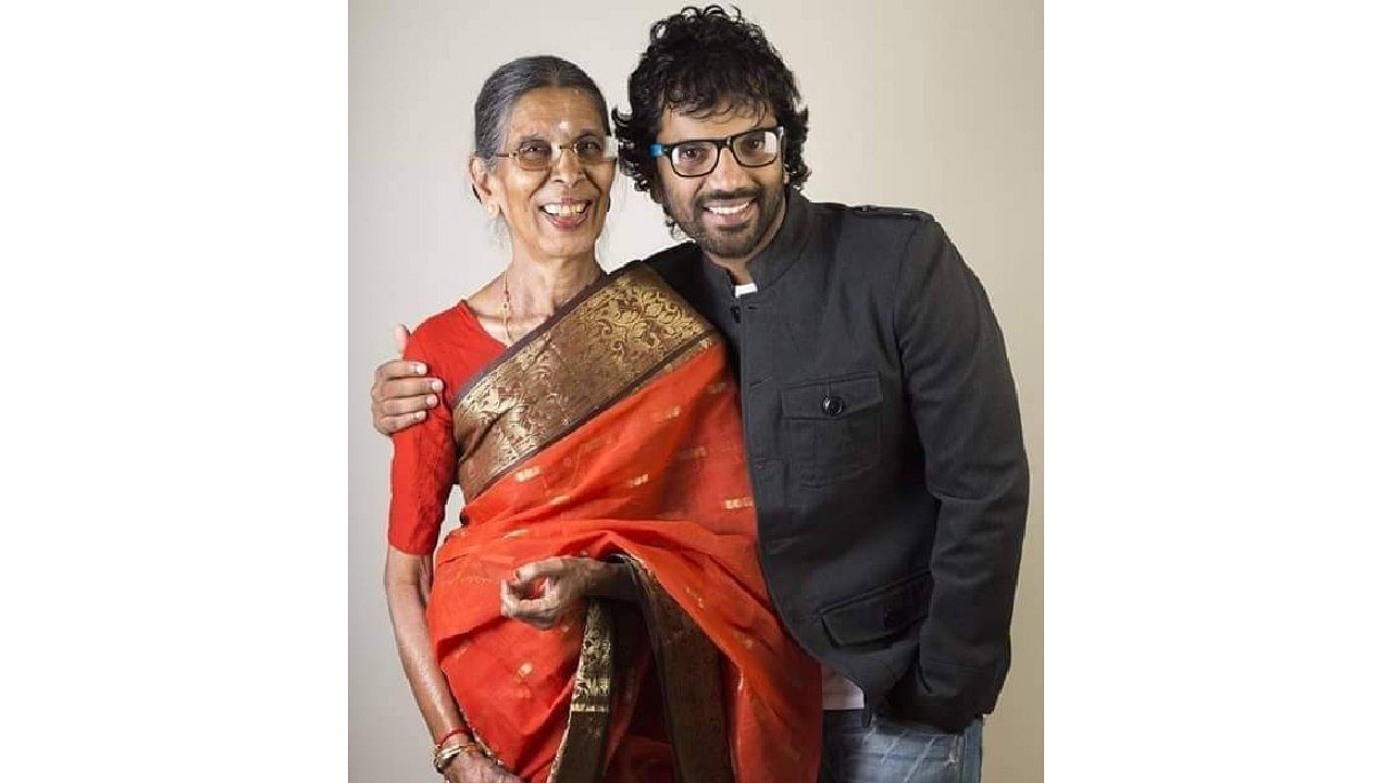 Neenasam Sathish with his mother